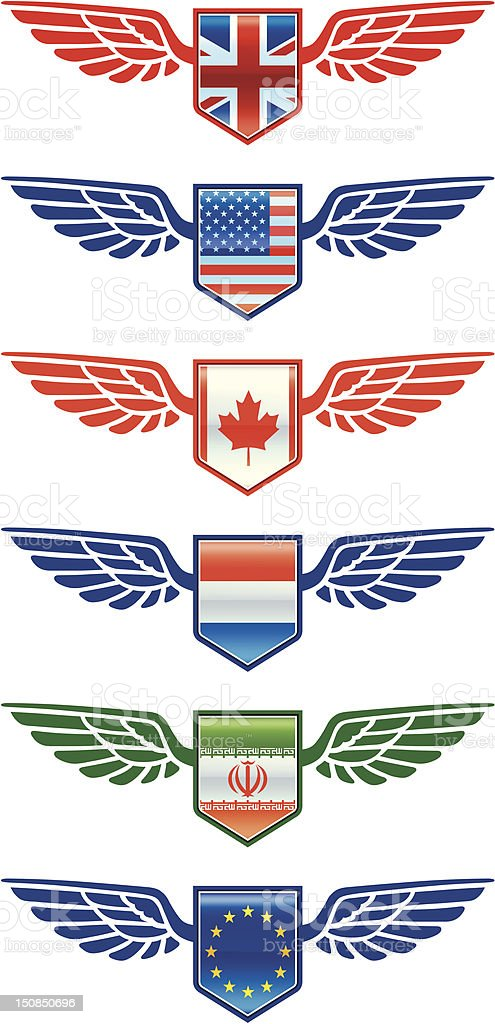 Flying flags royalty-free stock vector art