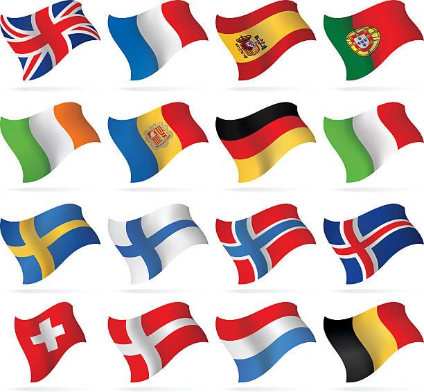 flying flags-westliche und nordeuropa-routen - flagge irland stock-grafiken, -clipart, -cartoons und -symbole