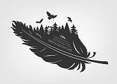 flying flock birds and forest in feather