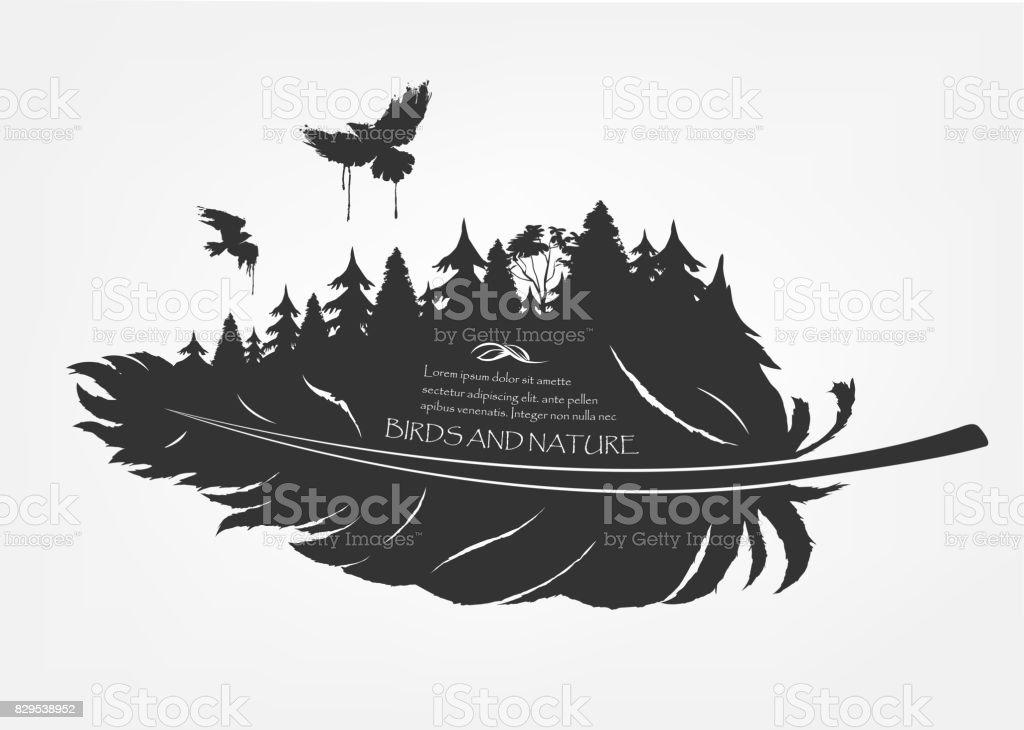fliegende Schwarm Vögel und Wald in Feder – Vektorgrafik