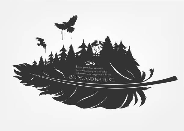 fliegende schwarm vögel und wald in feder - stammes tattoos stock-grafiken, -clipart, -cartoons und -symbole