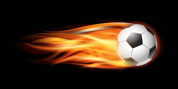 bildbanksillustrationer, clip art samt tecknat material och ikoner med flygande fotboll eller fotboll bollen i brand. - fotboll eld