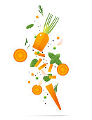 Flying fresh carrots and spices concept , healthy food background , vector, illustration