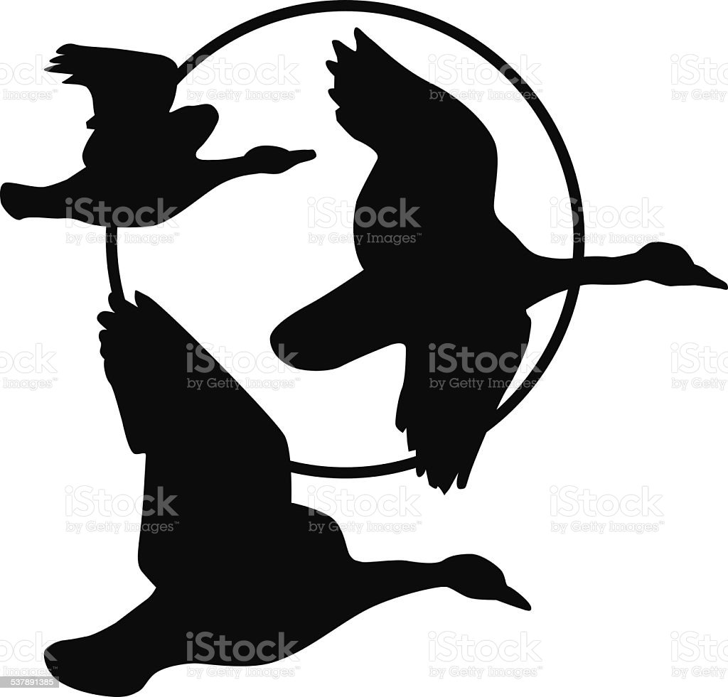 flying geese silhouette and harvest moon royalty free stock vector art