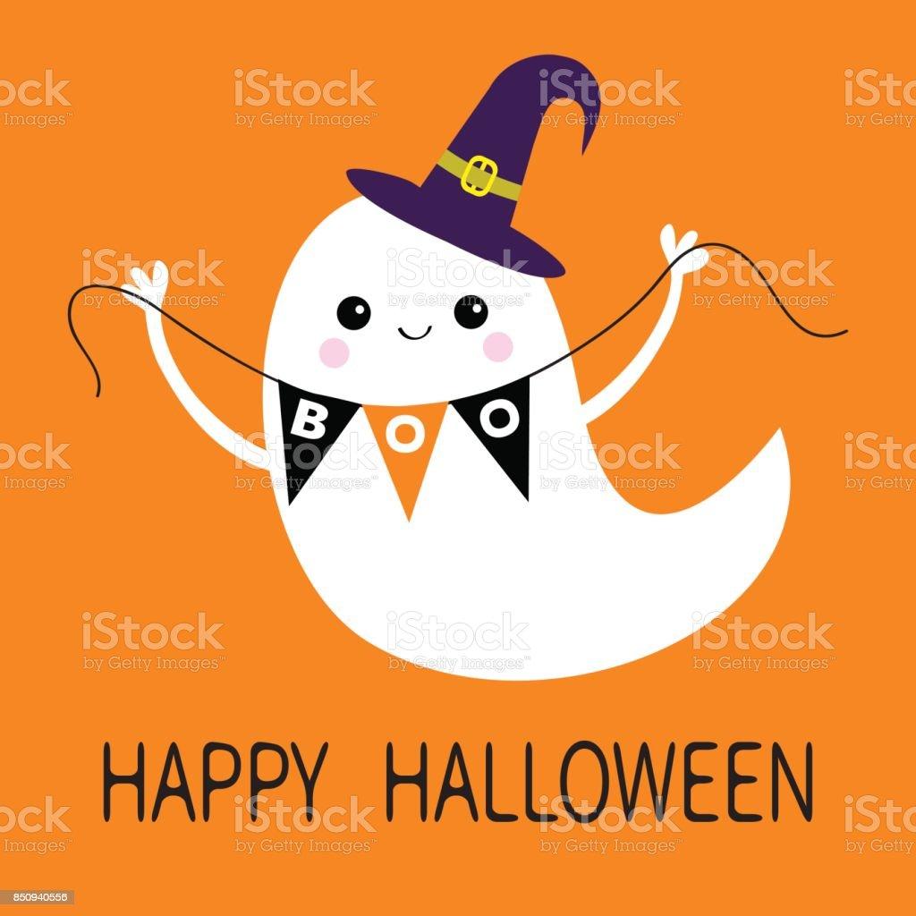 Espíritu vuelo fantasma bandera del empavesado Boo. Sombrero de bruja. Feliz Halloween. Miedo fantasmas blancos. Carácter espeluznante de dibujos animados lindo. Cara sonriente, las manos. Fondo naranja. Tarjeta de felicitación. Diseño plano. - ilustración de arte vectorial