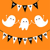 Flying ghost spirit set. Bunting flag Happy Halloween. Boo. Three scary white ghosts family. Cute cartoon spooky character. Smiling face, hands. Orange background. Greeting card. Flat design. Vector