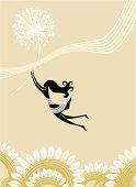 stylized girl flying on dandelion