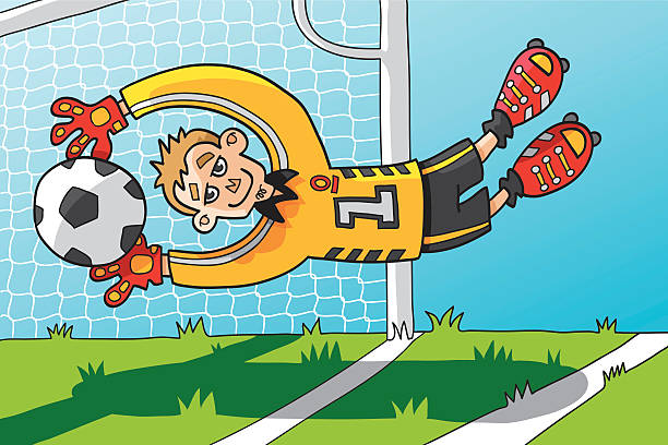 """Flying Goalkeeper Catching Ball """"Vector illustration of a funny Cartoon Soccer Goalkeeper, who is catching the ball in the air. The line art, color and background are on separate layers, so you also can use the figures on your own background. The colors in the .eps-file are ready for print (CMYK). Included files: EPS (v8) and Hi-Res JPG."""" soccer stock illustrations"""
