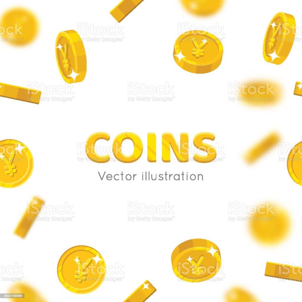 Flying gold Chinese yuan or Japanese yen cartoon frame vector art illustration