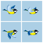 Flying Great Tit animation sprite sheet