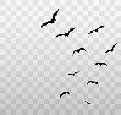 透明な背景にハロウィーンのコウモリを飛ぶ。ベクトル