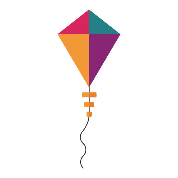 Flying Handle Kite for Outdoor Games vector art illustration