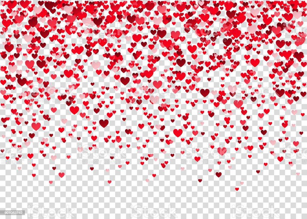 Vuelo Confeti Corazón Sobre Fondo Transparente