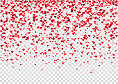 Flying heart confetti, Valentines day background.  Red design element for romantic love greeting card, Women's Day postcard, wedding invitation. Vector  texture.