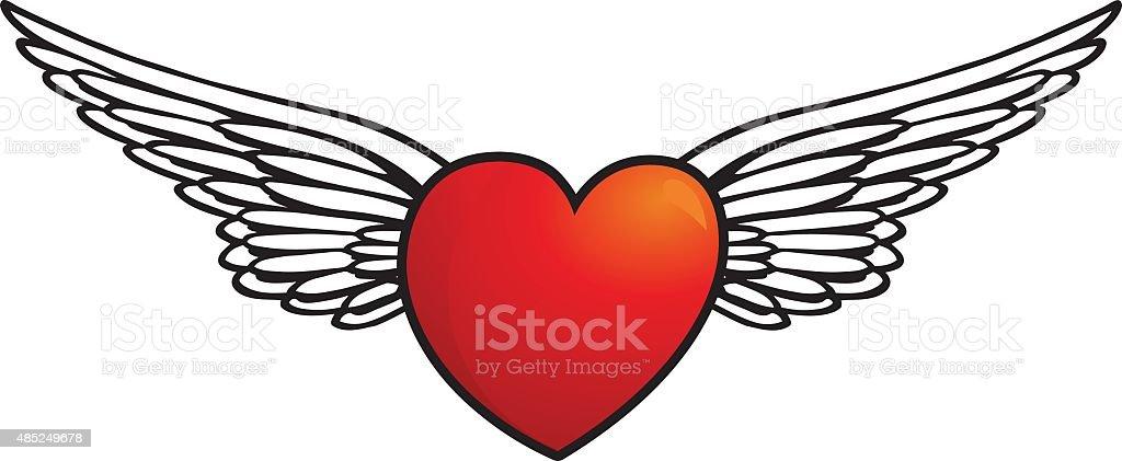 Flying Heart vector art illustration