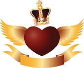 Flying Heart with Crown Jewels Vector Illustration