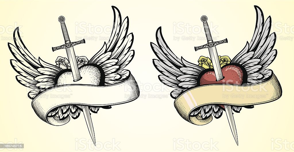 Flying Heart with Sword tattoo vector art illustration