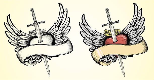 flying heart with sword tattoo - swords tattoos stock illustrations, clip art, cartoons, & icons