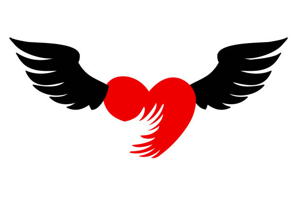 flying heart with wings red icon on white background. Heart with wings. Vector illustration isolated on white background, logo, t-shirt design. contributor stock illustrations
