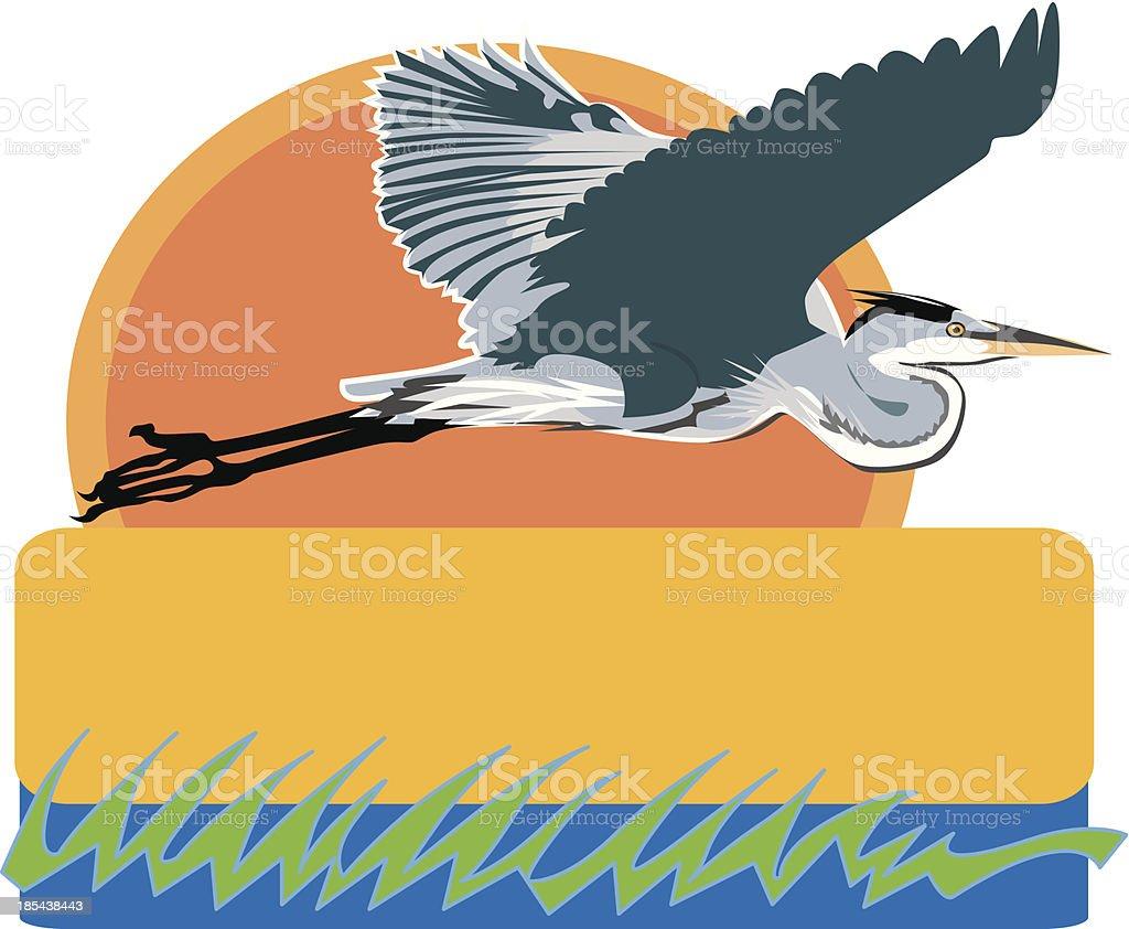 flying heron vector art illustration