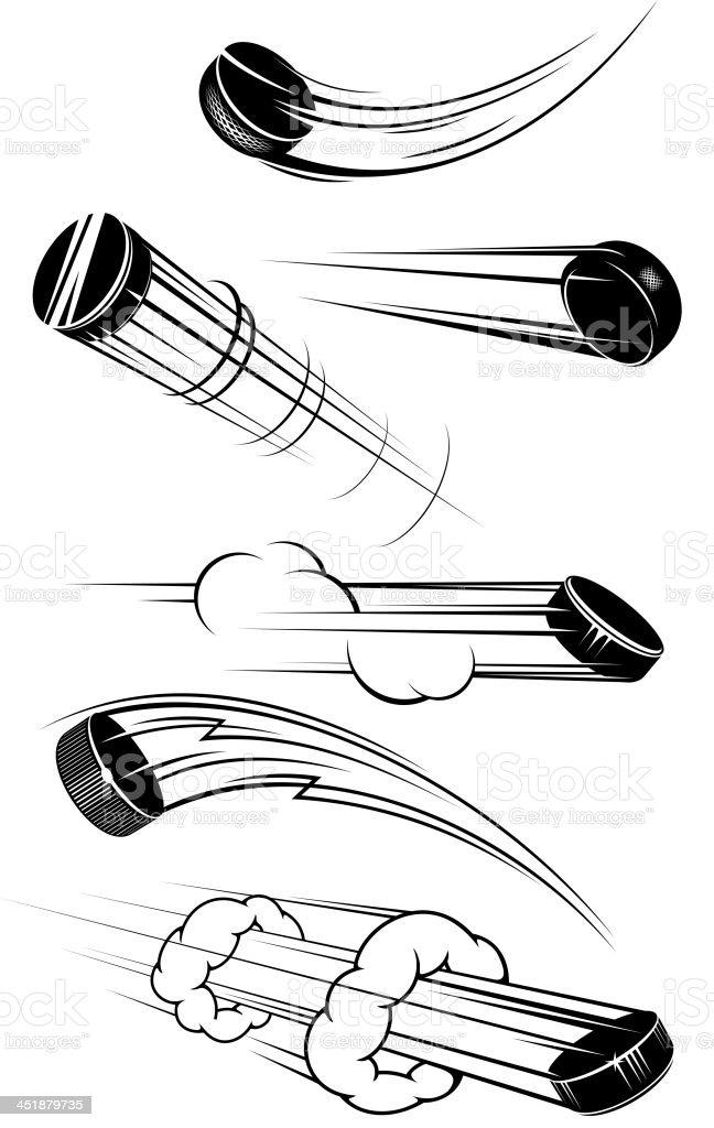Flying hockey pucks vector art illustration