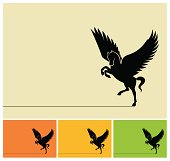 Winged horse silhouette.