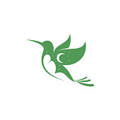 editable vector icon of a flying humming bird with negative space sleeping person at night.