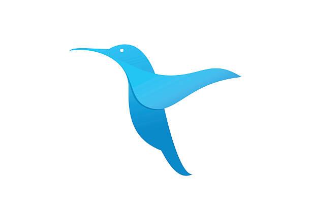 Flying hummingbird or logo template. vector art illustration