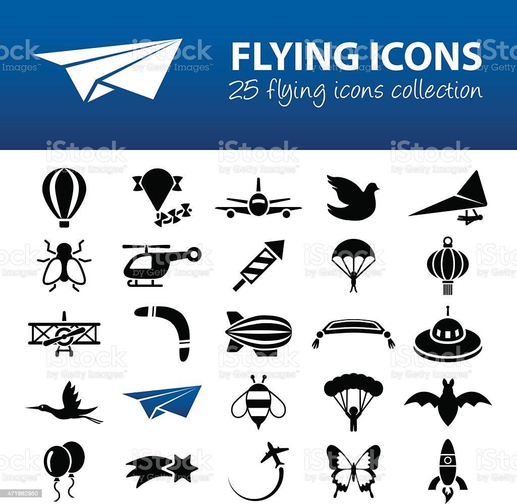 flying icons vector art illustration