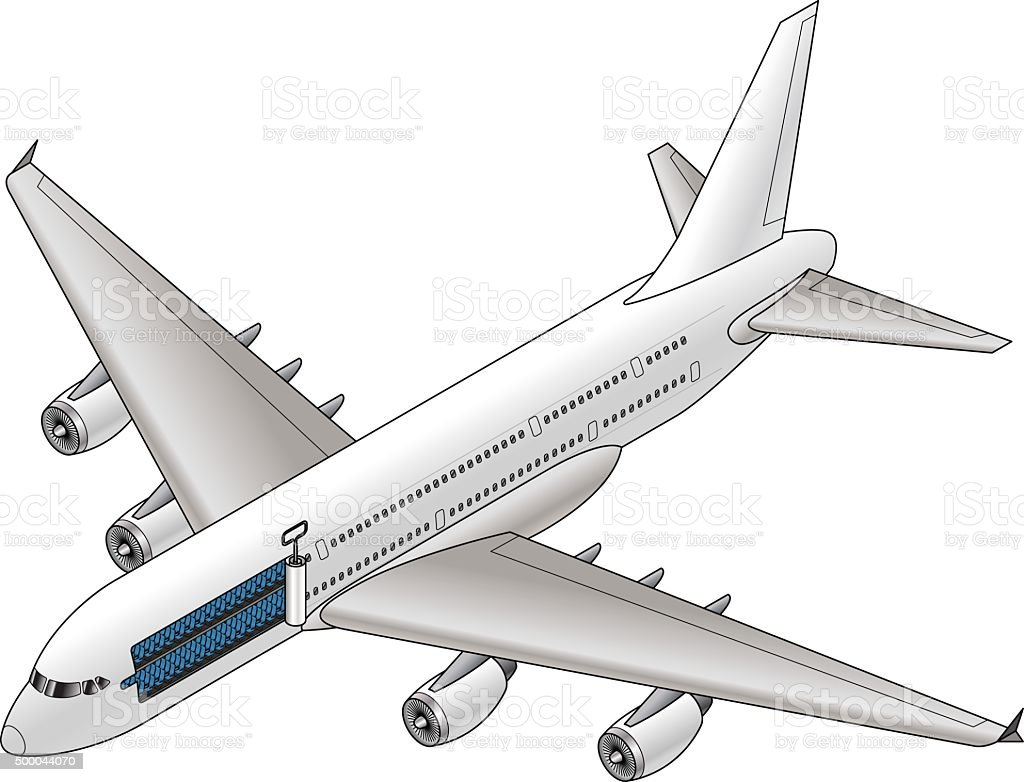 Flying in a Sardine Can vector art illustration
