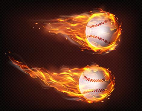 Flying in flames baseball balls realistic vector