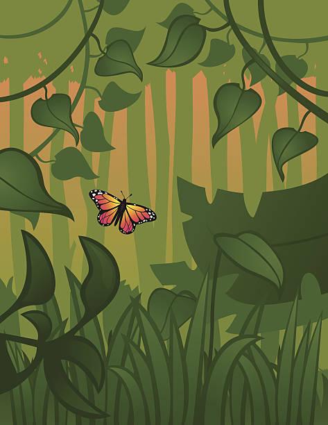 illustrazioni stock, clip art, cartoni animati e icone di tendenza di volante nella foresta - farfalla ramo
