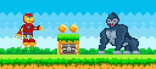Flying iron man near huge wild animal, gorilla. Pixelated cartoon robot is fighting monkey