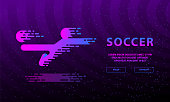 Flying kick by football player. Flat neon soccer illustration with soccer player and ball for landing page