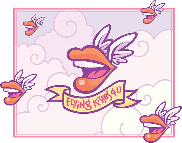 Flying Kisses 4 U (pastel color scheme) vector art illustration
