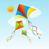 Flying Kite and Clouds on a Blue Sky Summer Concept Background. Vector