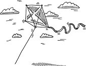 Flying Kite Wind Drawing
