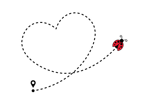 Flying Ladybug with Heart Shaped Dotted Route Line