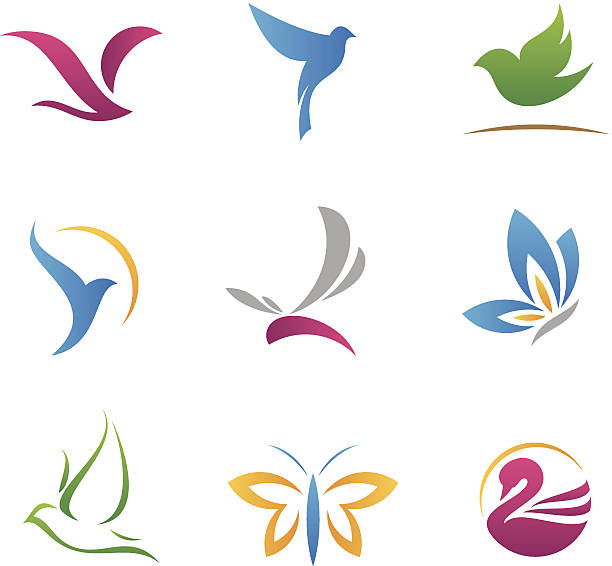 flying logos and icons - abstract clipart stock illustrations
