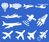 Flying Machines and Technology royalty free vector interface icon set