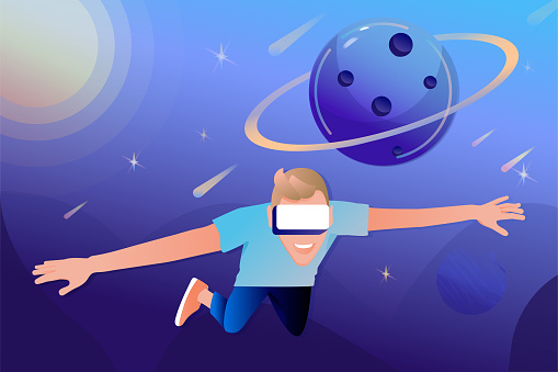 Flying man in virtual reality glasses on a space abstract  background.