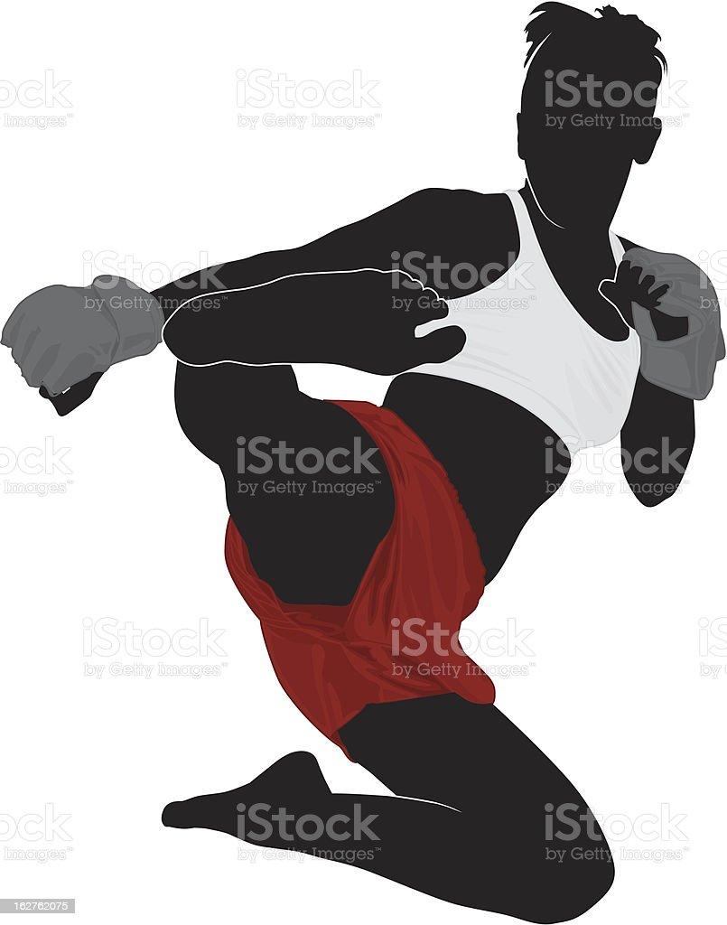 Flying MMA vector art illustration