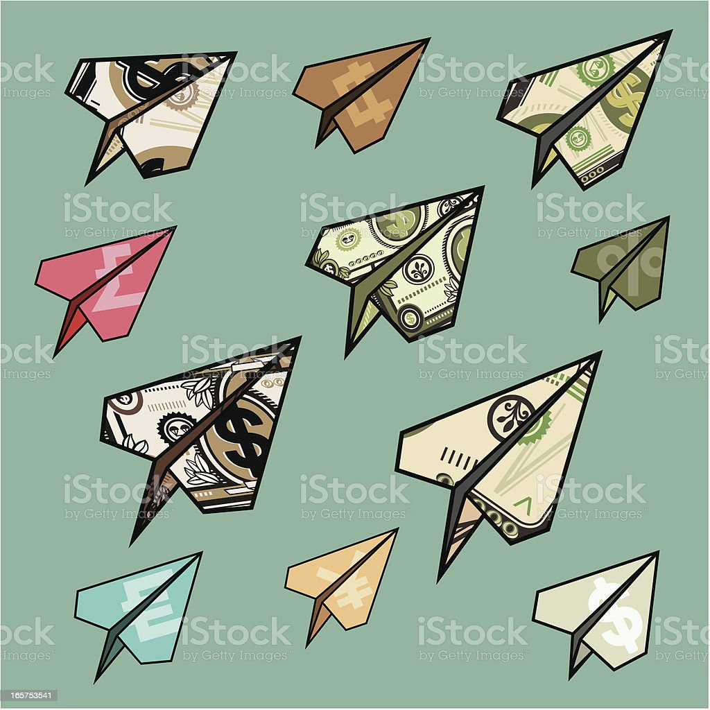 flying money planes vector art illustration