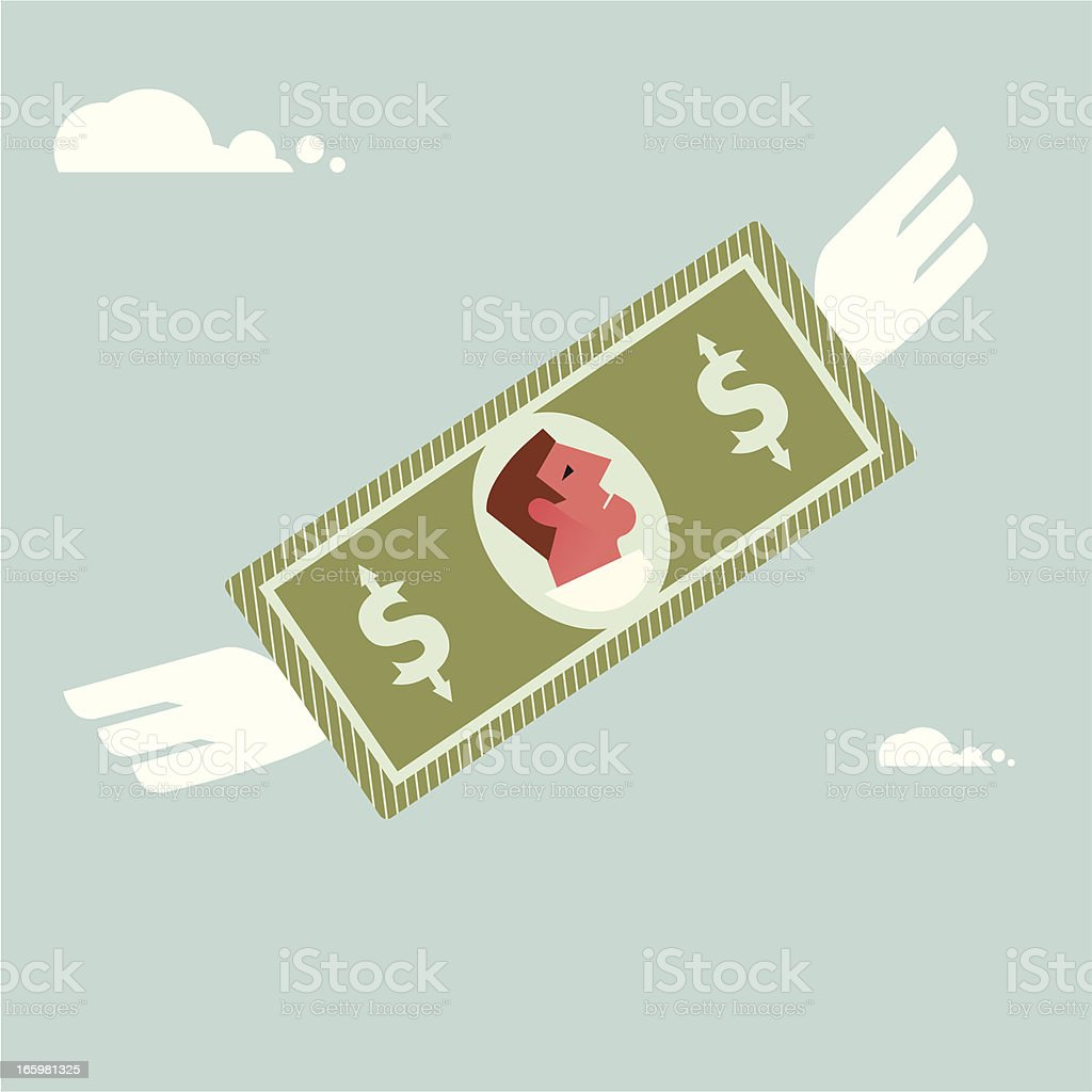 Flying money vector art illustration