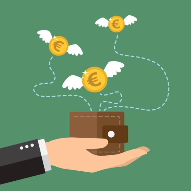 Flying dinero - ilustración de arte vectorial
