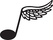 A vector illustration of a flying musical symbol.