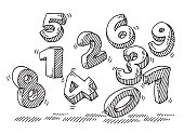 Hand-drawn vector drawing of Flying Numbers. Black-and-White sketch on a transparent background (.eps-file). Included files are EPS (v10) and Hi-Res JPG.