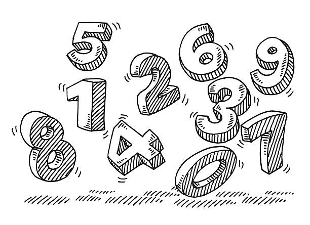 stockillustraties, clipart, cartoons en iconen met flying numbers drawing - westers schrift