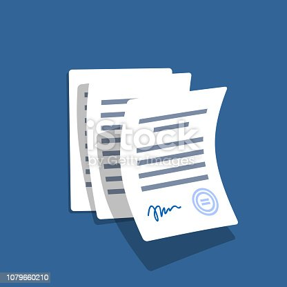 Financial papers. Stack of paperwork. Important papers. Business writing blank. Documentation vector.