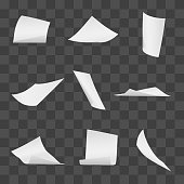 Flying office white paper pages on transparent background